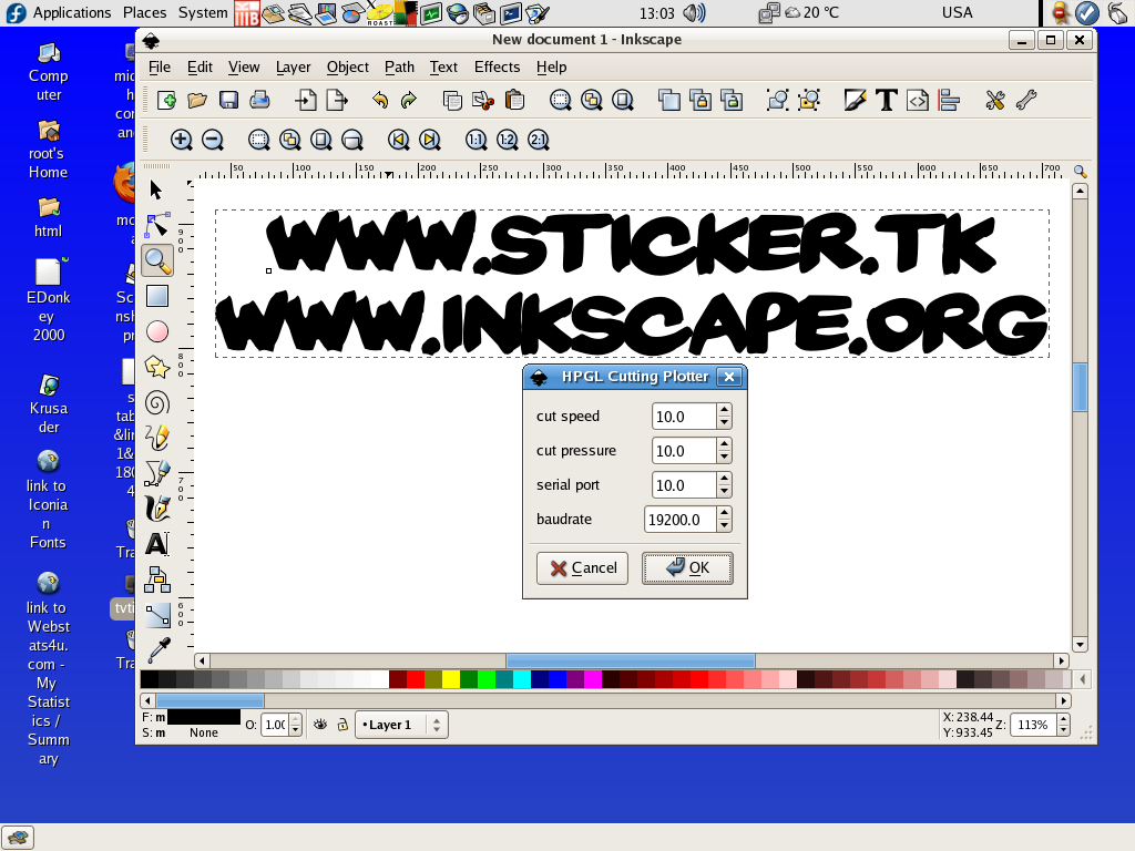 Linux inkscape save as HPGL file for pen cutting plotter